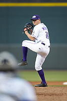 Winston-Salem Dash relief pitcher Mike Morrison (11) in action against the Salem Red Sox at BB&T Ballpark on April 21, 2018 in Winston-Salem, North Carolina.  The Dash walked-off the Red Sox 4-3.  (Brian Westerholt/Four Seam Images)