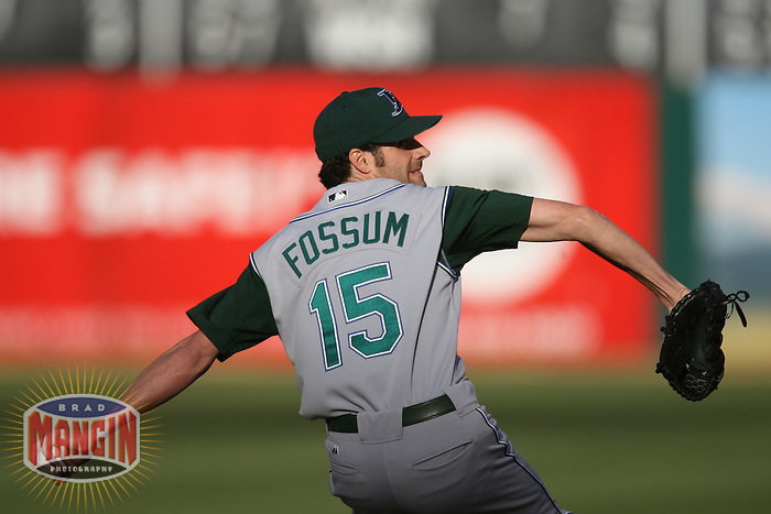 Casey Fossum. Baseball: Tampa Bay Devil Rays vs Oakland Athletics at McAfee Coliseum in Oakland, CA on August 12, 2006. Photo by Brad Mangin