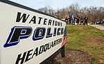 WATERTOWN, CT-123020JS05- The Watertown Police Honor Guard stands outside during a send-off parade and ceremony in honor of Watertown Police Chief John Gavallas Wednesday at the Watertown Police Department. Chief Gavallas has served for 51 years. <br /> Jim Shannon Republican-American