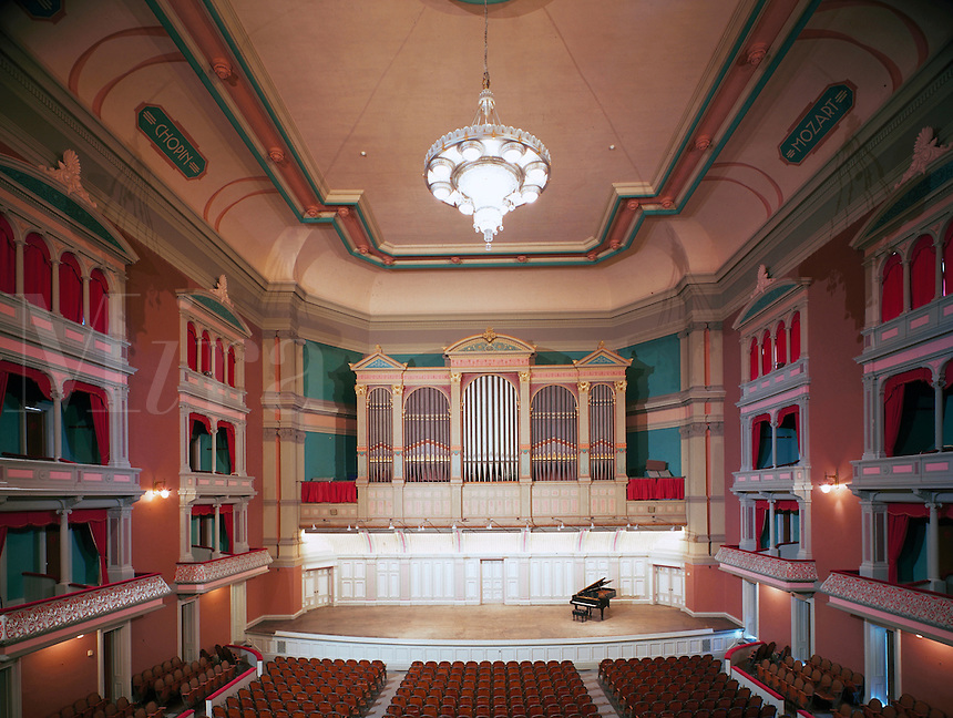 Architectural interior shot of music hall. Troy.