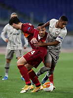 Football Soccer: Europa League -Round of 16 1nd leg AS Roma vs FC Shakhtar Donetsk, Olympic Stadium. Rome, Italy, March 11, 2021.<br /> Roma's Marash Kumbulla (L) in action with Shakhtar Donetsk's Tete (R) during the Europa League football soccer match between Roma and  Shakhtar Donetsk at Olympic Stadium in Rome, on March 11, 2021.<br /> UPDATE IMAGES PRESS/Isabella Bonotto