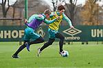 22.11.2020, Trainingsgelaende am wohninvest WESERSTADION,, Bremen, GER, 1.FBL, Werder Bremen Training, im Bild<br /> <br /> <br /> <br /> Yuya Osako (SV Werder Bremen #8) am Ball, verfolgt von Maik Nawrocki (SV Werder Bremen II / U23 #4)<br /> <br /> Foto © nordphoto / Gumz