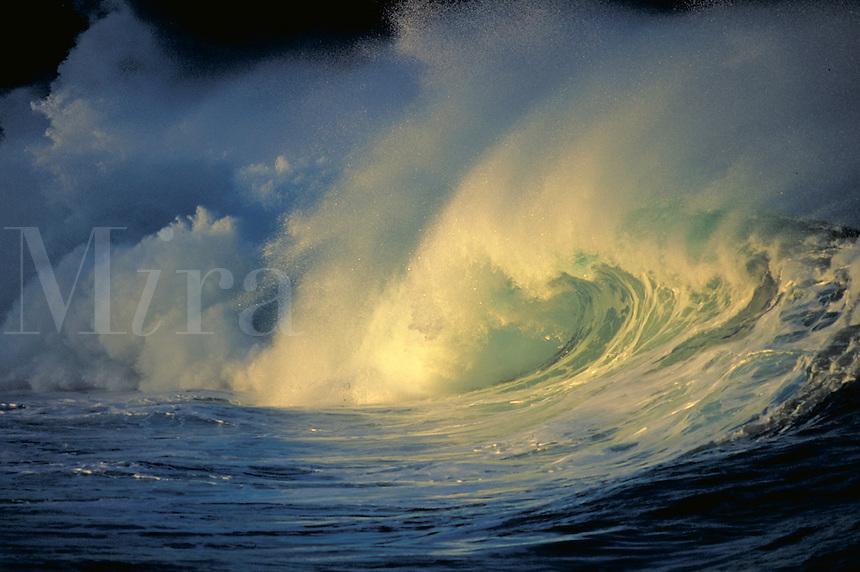 Wave breaking at Waimea Bay, Hawaii. Hawaii, Waimea Bay.