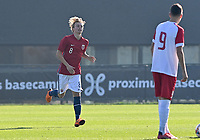 Oliver Kvendbo Holden (8) of Norway pictured celebrates after scoring a goal during a soccer game between the national teams Under17 Youth teams of  Norway and Luxemburg on day 2 in the Qualifying round in group 3 on saturday 9 th of October 2020  in Tubize , Belgium . PHOTO SPORTPIX   DAVID CATRY