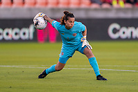 HOUSTON, TX - JANUARY 28: Noelia Bermudez #1 of Costa Rica rolls out the ball during a game between Costa Rica and Panama at BBVA Stadium on January 28, 2020 in Houston, Texas.