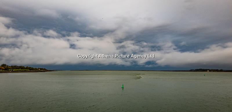 The Menai Strait as seen from Caernarfon in north Wales, UK. Friday 01 November 2019