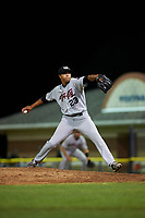 Tri-City ValleyCats relief pitcher Reggie Johnson (23) delivers a pitch during a game against the Batavia Muckdogs on July 15, 2017 at Dwyer Stadium in Batavia, New York.  Tri-City defeated Batavia 5-4.  (Mike Janes/Four Seam Images)