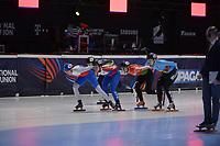SPEEDSKATING: DORDRECHT: 06-03-2021, ISU World Short Track Speedskating Championships, RF 1500m Ladies, Michaela Hruzova (CZE), Alica Porubska (SVK), Volha Talayeva (BLR), Tineke van den Dulk (BEL), ©photo Martin de Jong