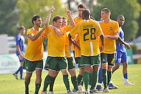AC St Louis players celebrate the opening goal...AC St Louis and NSC Minnesota Stars played to a 2-2 tie at Anheuser-Busch Soccer Park, Fenton, Missouri.
