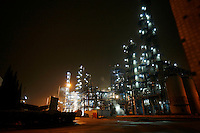 The Quzhou Juhua Chemical Factory seen at night in Quzhou, Zhejiang Province, China..
