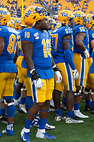 Pitt defensive lineman Keyshon Camp (10) suffered a season-ending injury in the opening game. The Virginia Cavaliers defeated the Pitt Panthers 30-14 in a football game at Heinz Field, Pittsburgh, Pennsylvania on August 31, 2019.