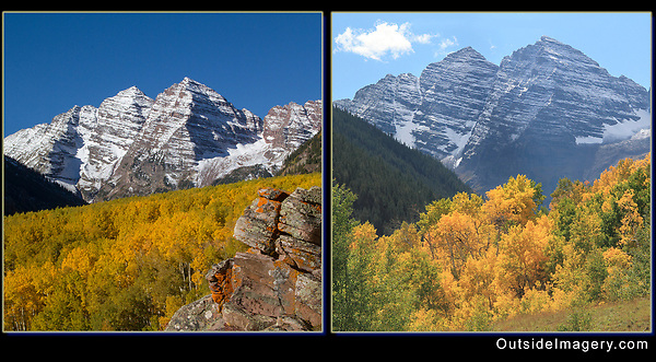 Keep the Sun Behind You.<br /> In the left photo, the Maroon Bells and aspen trees receive perfect morning light. The autumn sun is shining from behind me. The right image is backlit, meaning I am photographing or pointing the camera into the sun. The photo has far less color saturation and detail.