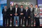 Mono Burgos (3L), Diego Pablo `Cholo´ Simeone (4L), Enrique Cerezo (3R) and Jose Luis Caminero (2R) during Simeone´s contract renewal announcement as Atletico de Madrid´s coach until 2020, in Madrid, Spain. March 24, 2015. (ALTERPHOTOS/Victor Blanco)