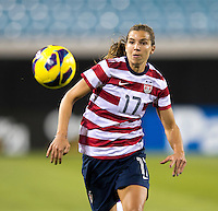 Tobin Heath (17) of the USWNT tries to control the ball during the game at EverBank Field in Jacksonville, Florida.  The USWNT defeated Scotland, 4-1.