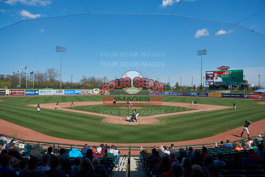 The Great Lakes Loons play host to the Wisconsin Timber Rattlers during a Midwest League game at Dow Diamond on May 4, 2019 in Midland, Michigan. Great Lakes defeated Wisconsin 5-1. (Zachary Lucy/Four Seam Images)