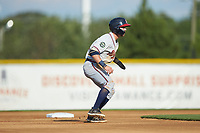 Cody Milligan (7) of the Danville Braves takes his lead off of second base against the Burlington Royals at Burlington Athletic Stadium on July 13, 2019 in Burlington, North Carolina. The Royals defeated the Braves 5-2. (Brian Westerholt/Four Seam Images)