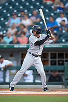 Breyvic Valera (2) of the Scranton/Wilkes-Barre RailRiders at bat against the Charlotte Knights at BB&T BallPark on August 14, 2019 in Charlotte, North Carolina. The Knights defeated the RailRiders 13-12 in ten innings. (Brian Westerholt/Four Seam Images)
