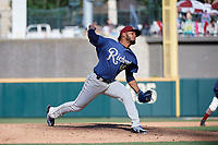 Frisco RoughRiders pitcher Jefferson Medina (49) during a Texas League game against the Amarillo Sod Poodles on May 19, 2019 at Dr Pepper Ballpark in Frisco, Texas.  (Mike Augustin/Four Seam Images)