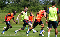 Pictured: Oliver McBurnie (2nd L) kick the ball forward. Wednesday 05 July 2017<br />Re: Swansea City FC training at Fairwood training ground, UK