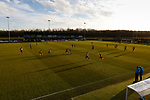 Long shadows on the pitch as Southport launch an attack. Darlington 1883 v Southport, National League North, 16th February 2019. The reborn Darlington 1883 share a ground with the town's Rugby Union club. <br />
