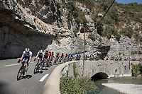 Bob Jungels (LUX/Deceuninck-Quick Step) leading the peloton through de 'Gorges de Saint-May' scenery<br /> <br /> Stage 5 from Gap to Privas 183km<br /> 107th Tour de France 2020 (2.UWT)<br /> (the 'postponed edition' held in september)<br /> ©kramon