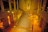 An architectural feature of the art museum is the grand staircase. Philadelphia Pennsylvania United States.