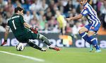 Deportivo de La Coruna's Riki scores against Real Madrid's Iker Casillas  during La Liga match. September 30, 2012. (ALTERPHOTOS/Alvaro Hernandez).
