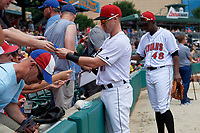 Indianapolis Indians Jake Elmore (13) signs autographs before an International League game against the Syracuse Mets on July 17, 2019 at Victory Field in Indianapolis, Indiana.  Syracuse defeated Indianapolis 15-5  (Mike Janes/Four Seam Images)