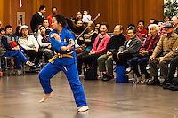 A young woman demonstrates martial arts at the Lunar New Year Celebration.
