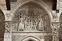 Europe/Europe/France/Midi-Pyrénées/46/Lot/Souillac: Eglise ababtiale Sainte-Marie -  A l'intérieur: le Portail du XII éme - détail du tympan  qui représente le miracle du moine Théophile