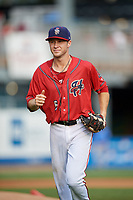 Harrisburg Senators shortstop Carter Kieboom (5) jogs back to the dugout during a game against the Akron RubberDucks on August 18, 2018 at FNB Field in Harrisburg, Pennsylvania.  Akron defeated Harrisburg 5-1.  (Mike Janes/Four Seam Images)