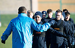 St Johnstone Training…28.12.18    McDiarmid Park<br />Tristan Nydam and Chris Kane listen to manager Tommy Wright for instructions in a sprint race ahead of tomorrow's game at Dundee.<br />Picture by Graeme Hart.<br />Copyright Perthshire Picture Agency<br />Tel: 01738 623350  Mobile: 07990 594431
