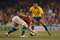 MELBOURNE, 29 JUNE 2013 - Alun WYN JONES of the Lions and Kurtley BEALE of the Wallabies compete for the ball during the Second Test match between the Australian Wallabies and the British & Irish Lions at Etihad Stadium on 29 June 2013 in Melbourne, Australia. (Photo Sydney Low / sydlow.com)