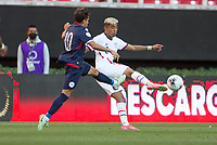 ZAPOPAN, MEXICO - MARCH 21: Julian Araujo #2 of the United States clears a ball during a game between Dominican Republic and USMNT U-23 at Estadio Akron on March 21, 2021 in Zapopan, Mexico.