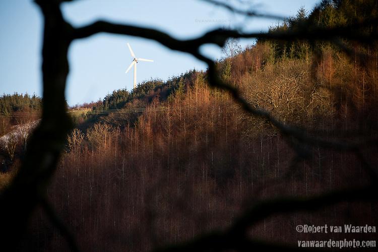 A wind turbine in the Welsh hills, United Kingdom.