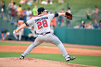 Southern Divisions pitcher Bruce Zimmermann (28) of the Rome Braves delivers a pitch during the South Atlantic League All Star Game at First National Bank Field on June 19, 2018 in Greensboro, North Carolina. The game Southern Division defeated the Northern Division 9-5. (Tony Farlow/Four Seam Images)