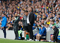 4th September 2021; Merton, London, England;  EFL Championship football, AFC Wimbledon versus Oxford City: Oxford United Manager Karl Robinson looks on from the touchline