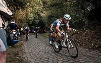 Benoit Cosnefroy (FRA/AG2R-La Mondiale) up the mean (and newly introduced) Moskesstraat cobbles<br /> <br /> 60th De Brabantse Pijl 2020 - La Flèche Brabançonne (1.Pro)<br /> 1 day race from Leuven to Overijse (BEL/197km)<br /> <br /> ©kramon