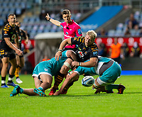 21st August 2020; Ricoh Arena, Coventry, West Midlands, England; English Gallagher Premiership Rugby, Wasps versus Worcester Warriors; Ben Morris of Wasps loses the ball as he is tackled by James Scott of Worcester Warriors during the Gallagher Premiership Rugby match between Wasps and Worcester Warriors at Ricoh Arena