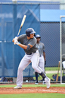 Tampa Bay Rays Freddvil Chevez bats during an Extended Spring Training intrasquad game on June 15, 2021 at Charlotte Sports Park in Port Charlotte, Florida.  (Mike Janes/Four Seam Images)