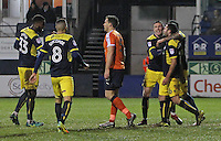Phil Edwards of Oxford United celebrates scoring their first goal with team mates during the The Checkatrade Trophy Semi Final match between Luton Town and Oxford United at Kenilworth Road, Luton, England on 1 March 2017. Photo by Stewart  Wright  / PRiME Media Images.