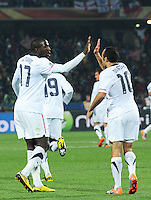 Landon Donovan and Jozy Altidore celebrate his 62nd mintue penalty kick, which leveled the score. Ghana defeated the U.S., 2-1, in extra time to advance to the quarterfinals, Saturday, June 26th, at the 2010 FIFA World Cup in South Africa..