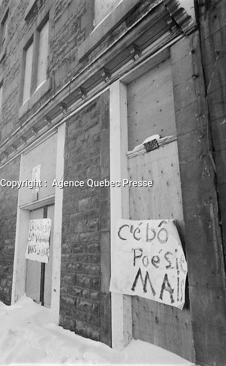 Maison Montcalm1972.<br /> <br /> <br /> PHOTO : Agence Quebec Presse -  Alain Renaud