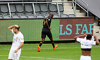 LOS ANGELES, CA - OCTOBER 25: Bradley Wright-Phillips celebrates a LAFC goal during a game between Los Angeles Galaxy and Los Angeles FC at Banc of California Stadium on October 25, 2020 in Los Angeles, California.