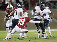 STANFORD, CA - November 6, 2010: Kicker Nate Whitaker on a kick off return tackle during a 42-17 Stanford win over the University of Arizona, in Stanford, California.