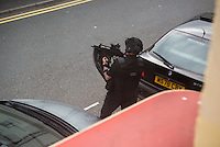 Thursday  11 August 2016<br /> Pictured: <br /> Re: THERE are reports of armed police dealing with an incident in the centre of Carmarthen.<br /> <br /> Witnesses have reported seeing armed police at the top end of Lammas Street, which has been closed with its junction with Water Street, while officers deal with the incident.