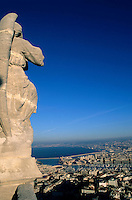 Cityscape seen from the basilica of Notre Dame de la Garde, Marseille, France.
