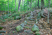 Stone staircase in Warren Town Forest in Warren, New Hampshire during the summer months.