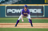 Daniel Cabrera (8) of the LSU Tigers takes his lead off of first base against the Baylor Bears in game five of the 2020 Shriners Hospitals for Children College Classic at Minute Maid Park on February 28, 2020 in Houston, Texas. The Bears defeated the Tigers 6-4. (Brian Westerholt/Four Seam Images)