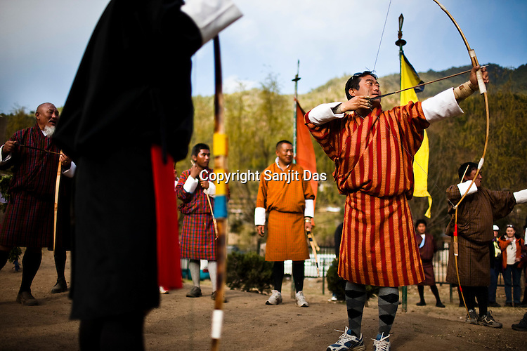 Archery afficionados gather to practice the traditional game of archery, Bhutan's national sport. It is very typical of Bhutanese taking pride in displaying their age-old traditions. Sanjit Das/Panos